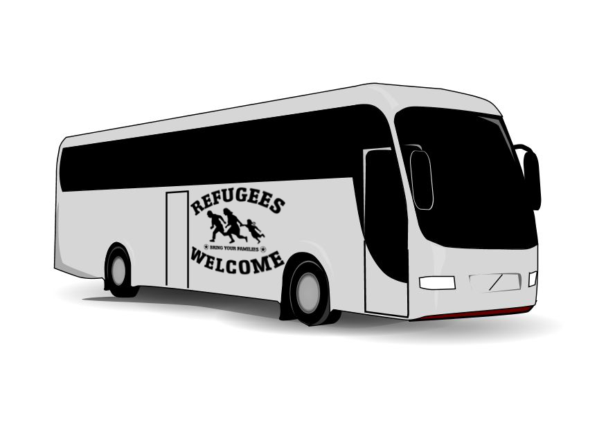 Refugees welcome+bus